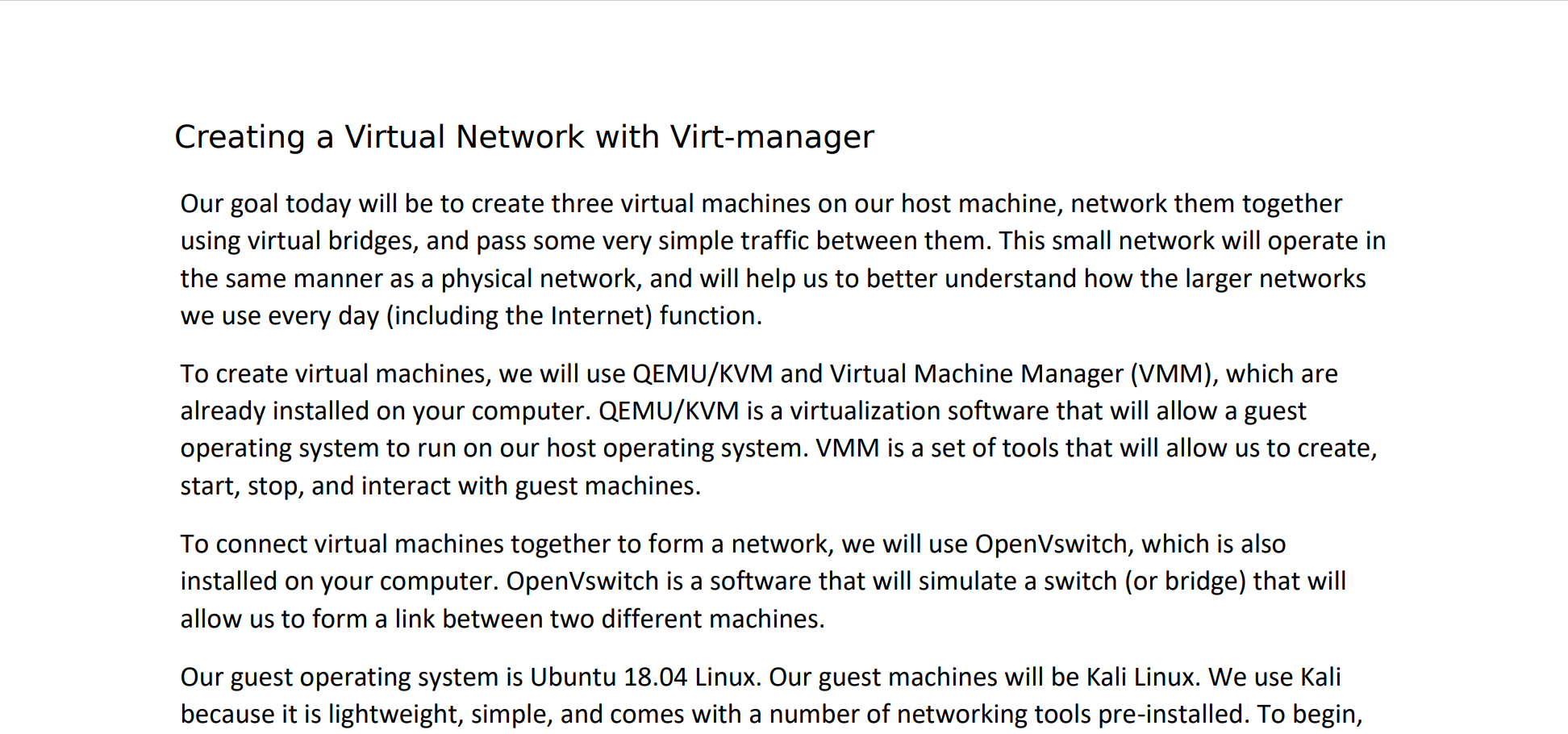 Creating a Virtual Network with Virt-manager